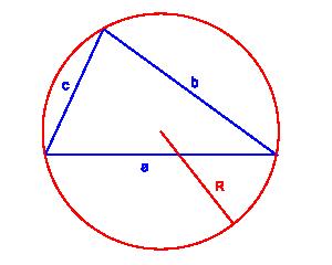 pole trójkąta trzy boki i promień okręgu opisanego