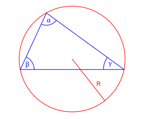 pole trójkąta trzy kąty i promień okręgu opisanego